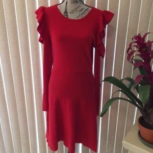 INC RED COLD SHOULDER L/S SWEATER DRESS SIZE XL